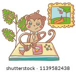 monkey with chemistry items | Shutterstock .eps vector #1139582438