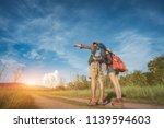 hikings couple asian walk... | Shutterstock . vector #1139594603