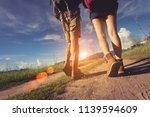 hikings couple asian walk... | Shutterstock . vector #1139594609