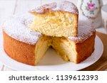 Homemade sponge cake on a white ...