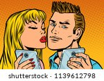 young couple kiss selfie on... | Shutterstock .eps vector #1139612798