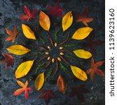 Small photo of Autum. n leaves in mandala shape flat lay on dark background. Meditative zen concept