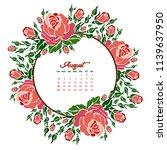 august calendar. vector... | Shutterstock .eps vector #1139637950