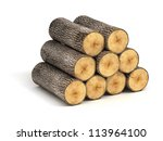 Stack Of Firewood Logs On Whit...