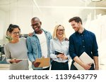 group of diverse young... | Shutterstock . vector #1139643779