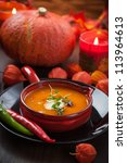 pumpkin soup with chili for... | Shutterstock . vector #113964613
