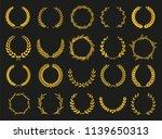 golden vector laurel wreaths on ... | Shutterstock .eps vector #1139650313