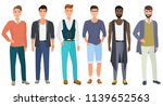 stylish handsome men dressed in ... | Shutterstock . vector #1139652563