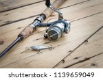fishing rood  reel and tackle... | Shutterstock . vector #1139659049
