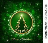 Green shiny background with Christmas tree, snowflakes, stars and blurry lights, illustration.