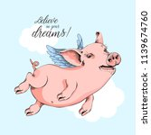 happy pig flies on a wings on a ... | Shutterstock .eps vector #1139674760