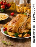 roast chicken whole. served on... | Shutterstock . vector #1139677079