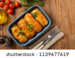 traditional stuffed cabbage...   Shutterstock . vector #1139677619