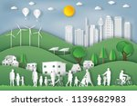 landscape of peoples exercise... | Shutterstock .eps vector #1139682983