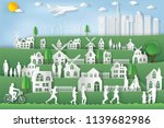landscape of peoples exercise... | Shutterstock .eps vector #1139682986