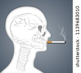 skull in face human smoking are ... | Shutterstock .eps vector #1139683010