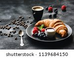 fresh croissant berries and... | Shutterstock . vector #1139684150