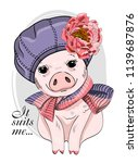 vector pig with violet hat ... | Shutterstock .eps vector #1139687876