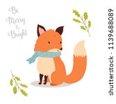 hand drawn christmas fox in... | Shutterstock .eps vector #1139688089