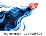 paper art of red boat and the... | Shutterstock .eps vector #1139689523
