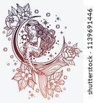 hand drawn beautiful mermaid... | Shutterstock .eps vector #1139691446
