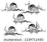three headed dragon  mutant ... | Shutterstock .eps vector #1139711450
