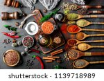 spices for cooking with kitchen ... | Shutterstock . vector #1139718989