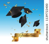 graduation cap thrown up and... | Shutterstock .eps vector #1139722400