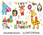 set of isolated funny animals... | Shutterstock .eps vector #1139729546