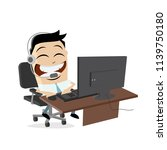 happy call center agent on the... | Shutterstock .eps vector #1139750180