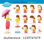 girl with monsoon diseases... | Shutterstock .eps vector #1139767679