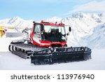 Red Machine For Skiing Slope...