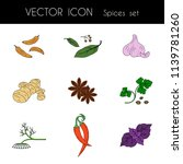 spices set of colored icons....   Shutterstock .eps vector #1139781260