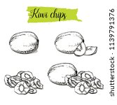 hand drawn sketch style kiwi... | Shutterstock .eps vector #1139791376