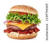 Fresh Big Cheeseburger Isolated ...