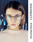 portrait of a woman in neon... | Shutterstock . vector #1139800340