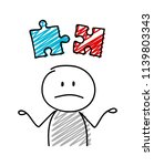 stickman with confused facial... | Shutterstock .eps vector #1139803343