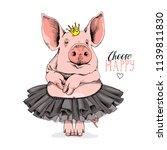 cute pig in a ballerina tutu... | Shutterstock .eps vector #1139811830