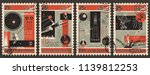 vector set of retro science... | Shutterstock .eps vector #1139812253