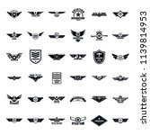 flight pilot logo badge. simple ... | Shutterstock . vector #1139814953