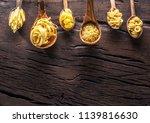different pasta types in wooden ... | Shutterstock . vector #1139816630