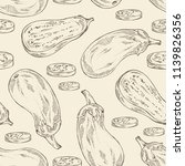 seamless pattern with eggplant  ... | Shutterstock .eps vector #1139826356
