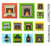 different kinds of fireplaces...   Shutterstock .eps vector #1139827409