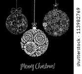 black and white christmas... | Shutterstock .eps vector #113982769