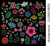 embroidery elements. flowers ... | Shutterstock .eps vector #1139833853