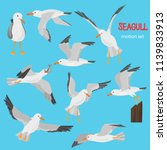 seagull bird in dufferent... | Shutterstock .eps vector #1139833913