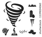 different weather black icons...   Shutterstock .eps vector #1139834060