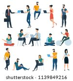 young men and women with... | Shutterstock .eps vector #1139849216