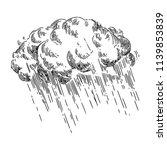 Storm Cloud And Rain. Sketch....