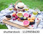 picnic background with white...   Shutterstock . vector #1139858630